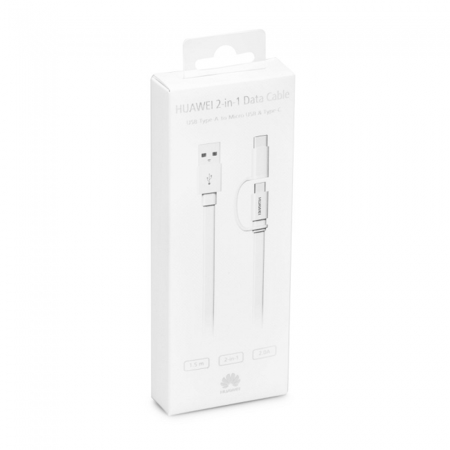 Huawei Usb Cable to Type C / Micro Usb 2IN1 1.5m White Blister Original (AP55S)
