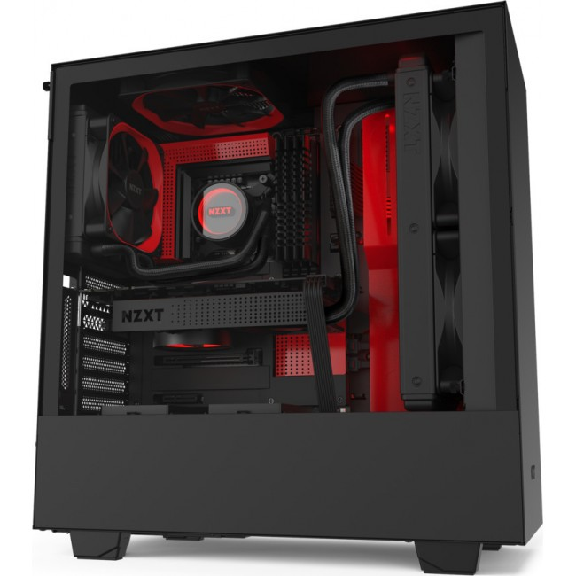 CASE NZXT H510 TOWER TEMPERED GLASS BLACK RED CA-H510B-BR