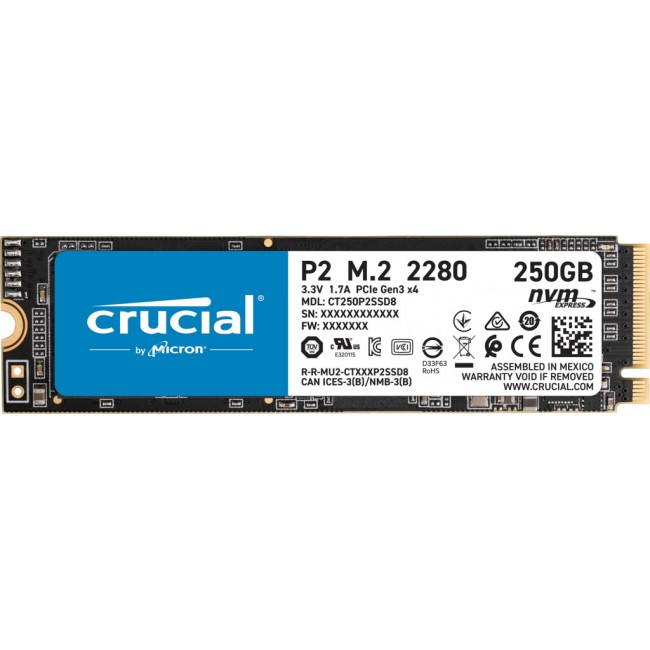 SSD CRUCIAL P2 250GB PCIE M.2 NVME CT250P2SSD8