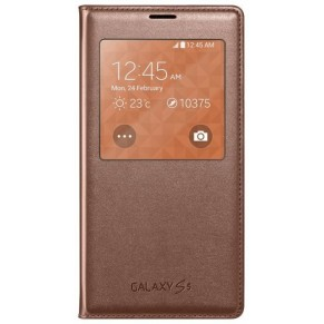 Samsung Flip Cover S-view for Galaxy S5 Gold