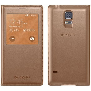Case for Samsung S5 S-View GOLD